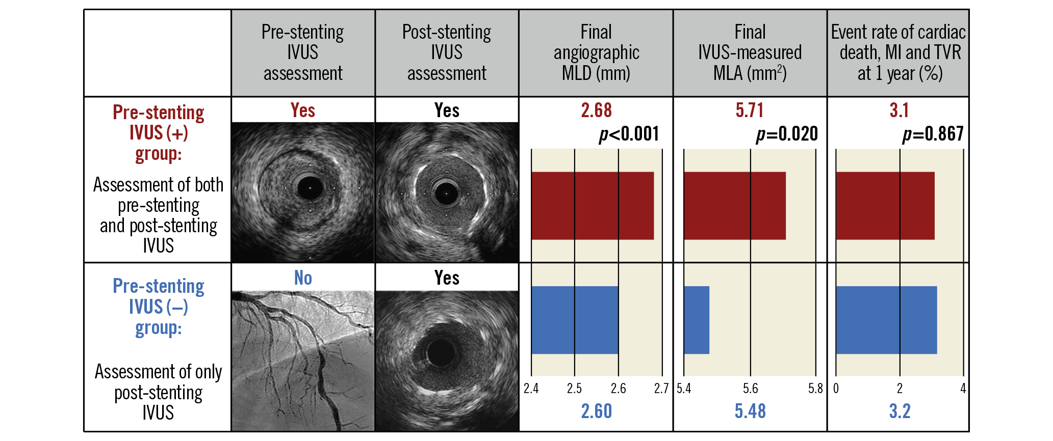 Visual summary. Acute and one-year outcomes of pre-stenting intravascular ultrasound: a meta-analysis of randomised clinical trials.